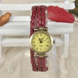 Hot Women Vintage Braided Bracelet Watch Copper Alloy Roman Dial Quartz Watch Wristwatches relogio feminino Y50*MPJ751#M5
