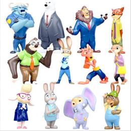 Película de acción en venta-12pcs / set la nueva figura de acción de Utopia de la historieta de Zootopia de la película los 4-8cm mini modelos de Pvc Nick Fox Judy Rabbit