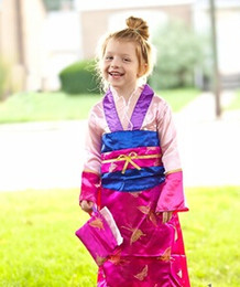Wholesale New Halloween Clothing Cosplay Kids Deluxe Hot Pink Mulan Party Dress Purse Qipao Chinese Costume