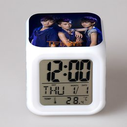 Wholesale Energy Conservation Colorful Musical Alarm Clock Cool Night Light Function Real Time Display Temperature Time TF BOYS Pattern