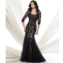 Two Pieces Black Lace Mermaid Evening Dresses with Lace Jacket 2016 paolo sebastian Strapless Half Sleeve Mother Prom Party Dress