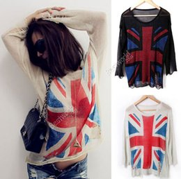 Wholesale Hot Sales New Womens Ladies Clothing Knit Union Jack Flag Distressed Thin Casual Styles Jumper Pullover Top Sweaters Dx92