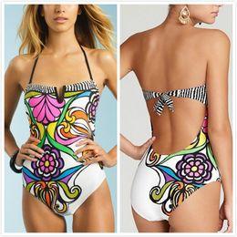 Hot new women's European and American Trade-piece bikini Swimsuit Printing One piece Swimwear woman Beachwear Free shipping
