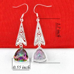 new 2015 Top Quality 925 Silver Earrings Trendy Rainbow Mystic Topaz Earrings For Women Wedding Earring Bijoux E0286