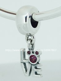 New 100% S925 Sterling Silver Dangle Love Mickey Charm Bead with Pink Cz Fits European Pandora Jewelry Bracelets