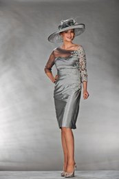 Wholesale John Charles Mother Of The Bride Appliqued Sheer Scoop Sleeve Knee Length Mother Formal Gowns
