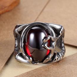 316L 361L Stainless Steel Men Women Punk Biker Red Gem Ruby Stone Ring Size 7-13