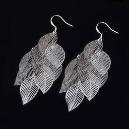 Beautiful Design 925 Silver Leaf Dangle Earrings fashion jewelry wedding gift for a woman free shipping