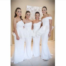 Amazing White One shoulder Bridesmaid Dresses With Peplum Mermaid Formal Wedding Evening Gowns 2015 Floor Length Maid Of Honor Dresses