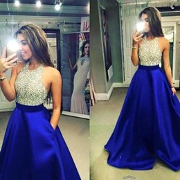 Royal Blue Halter Crystal Beaded Bodice A Line Satin Prom Dresses 2016 Sexy Full Length Backless Evening Dresses Arabic Evening Gowns BA1960