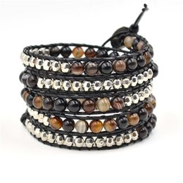 Wholesale infinity fashion jewelry bracelet beautiful winding leather bracelet layer of agate beads bracelet leather wrap bracelet JBN