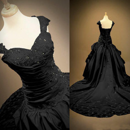 Unique Black Gothic Wedding Dresses Victorian A Line Ball Gown Capped Straps Beaded Lace Appliques Lace-up Back Bridal Gowns Chapel Train