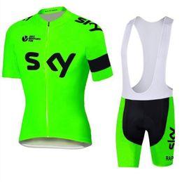 Купить Онлайн Франция человек-2016 Тур де Франс Команда Sky Велоспорт Джерси дневной зеленый Комплект с коротким рукавом Quick Dry Bike Wear Мужчины Открытый Велоспорт скафандр