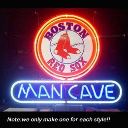 Wholesale MLB BOSTON RED SOX BASEBALL MAN CAVE Neon Sign Room Decorate Restaurant Custom Design Sizes Neon Bulbs Store Display Gift x14
