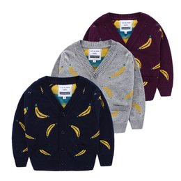 Wholesale Children Banana Pattern Cardigan For Winter Hot Sale Boys Cartoon Sweater Kids Printing Clothing Fit Age SS743