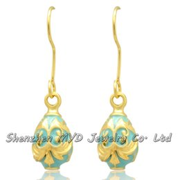 High quality brass jewelry lady multi-color enamel Faberge style Russian Easter egg drop earrings Valentines Day gift