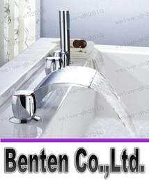 Wholesale llfa468 Waterfall bathtub faucet bathroom bath tub mixer taps with hand showerhead pieces set g