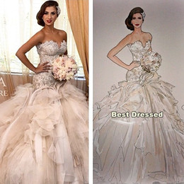 Wholesale Luxury Bridal Gowns Gorgeous Cathedral Wedding Gowns Lace Beads Elegant vestido de noiva Sereia mermaid Wedding Dresses Tiered Ruffles