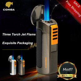 Wholesale COHIBA Exquisite Packaging Titanium Pocket Windproof Triple Torch Jet Flame Inflation Cigar Lighter with Cigar Punch