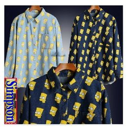 Wholesale SALE High quality women men Cartoon Portrait Head Bart Simpson loose long sleeve denim Jean shirt top plus size
