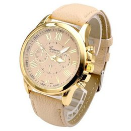 Wholesale-Fashion Brand New Geneva Roman Numerals PU Leather Watches Women Casual Quartz Watch