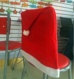 Wholesale AAAA quality Hot Sale Christmas Dining Chair Cover Christmas Accessories Party Supplies Santa Red Hat Chair Covers DDD