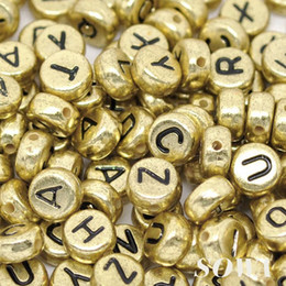 Free Shipping 7mm Spacer 300pcs lot Gold Tone Color Acyrlic Letter  Alphabet Cube Beads for fun DIY Charm Bracelets