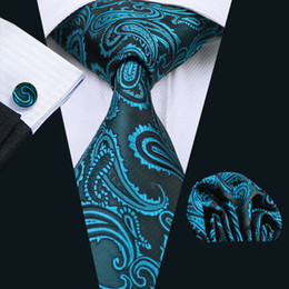 Mens Green Paisely Tie Pocket Square Cufflinks Classic Silk Jacquard Woven Meeting Business Casual Necktie N-1045
