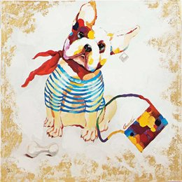 Cute Student Dog Painting 100% Hand-painted Oil Painting on Canvas Mural Art Picture for Living Room Bedroom Wall Decoration