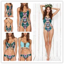 New Hot Women Fashion Printed Bikini Sexy Bandage Triangle Swimsuit Hollow out Beach Tankinis Swimwear For Women