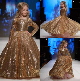 Sparkly 2018 Gold Sequined Ball Gown Flower Girl Dresses With Long Sleeve Kids Pageant Dress For Wedding Birthday Party Christmas EN112213