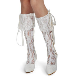 Wholesale 2015 Lace Long Knee Length Wedding Boots Bridal Shoes Lace up Cowgirl Wedding Boots Custom Made White Ivory Bridal Long Boots