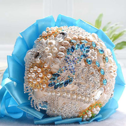 Wholesale Bride Bridal Bouquet Ribbon Custom Flower Beaded Crystal Beading Sequins Wedding Party Supplies In Stock Bride Petail SHJ