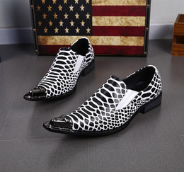 2017 Mens Leather Party Shoes Black White Zebra Stripe Italian Mens Casual Oxfords Shoes Wedding Shoes For Men 39-46 Plus Size Business Shoe