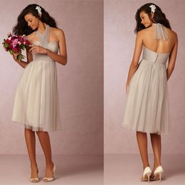adorable A-line halter neckine ruched zipper back simple Knee length formal tulle bridesmaid dresses