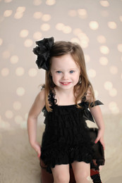 Wholesale-Black Lace Petti Romper ,Ruffle baby Romper ,Lace Baby Girls Romper 2T-6T With Bow