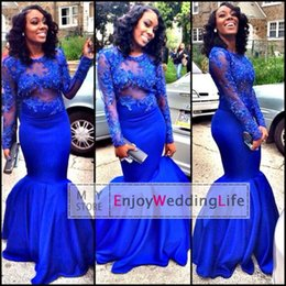 2016 New Sexy Sheer Long Sleeves Royal Blue Satin Mermaid Evening Dresses Sheer Tulle Lace Applique Floor Length Prom Dresses