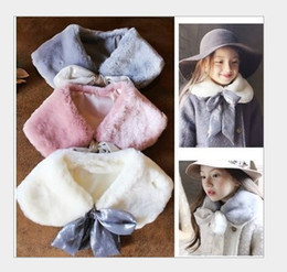 Wholesale 2016 New Arrival Girls Winter Scarf Collar Rabbit Fur Scarves Baby Kids Thicken Warm Collars Scarf Good Quality Cute Girl Scarves Colors