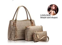 Wholesale-New 2015 women handbags leather handbag women messenger bags ladies brand designs bag bags Handbag+Messenger Bag+Purse 3 Sets