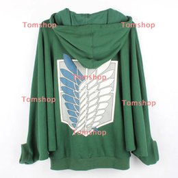 Wholesale-Attack on Titan Shingeki no Kyojin Scouting Legion Logo Batwing Coat Hoodie Jacket Cosplay Costume
