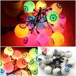 Wholesale Fancy Eye Balls String Lattern Lights LED Eyeball Colorful Strand Lamp Halloween Masquerade Supplies Decoration Lamps Out Eye Lamp Series
