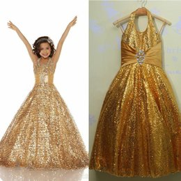 Stunning Sparkling Gold Sequined Real Photo Halter Flower Girl Dress For Wedding Girl Pageant Dress Gown Cheap Free Shipping