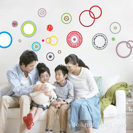 Wholesale bedroom decoration trade selling sofa backdrop wall stickers decorative sticker colorful circle ring AY9049