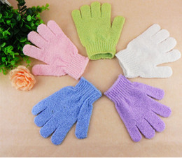2015 hot sell 20pcs lot 100% Nylon Exfoliating Bath Glove Five Fingers Bath Gloves free shipping