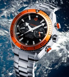 Wholesale Luxury New James Bond Automatic Black Dial Orange Bezel Stainless Bracelet High Quality Mens Watch Men Sport Watches