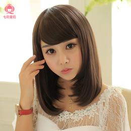 Girls with long hair pear head wig slightly curled wig women oblique bangs short and straight jiafa fashion female wig