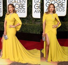 Wholesale Trendy Best Dresses At rd Annual Golden Globe Award Yellow Long Celebrity With Jacket Side Split Chiffon Red Carpet Dress Custom Made