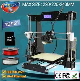 Wholesale Updated Big size mm High Precision Reprap Prusa i3 DIY d Printer kit with Rolls Filament GB SD card LCD Display
