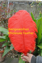 Wholesale-Free Shipping Prefect 18-20inch(45-50cm) Red Ostrich Feather for Wedding Decor wedding Centerpieces party event supply
