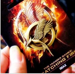 Wholesale The Movie Hunger Games MOCKINGJAY PINS Brooches Bronze Lauging Bird with retail Card